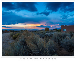 Photograph of a colorful sunset in Taos, New Mexico