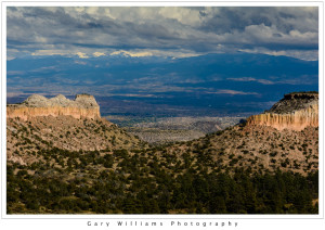 Photograph of a Mesa and redrock cliffs at Ghost Ranch near Albiquí, New Mexico
