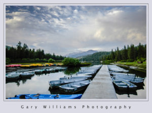 Photograph of boats tied to a dock at Hume Lake, California