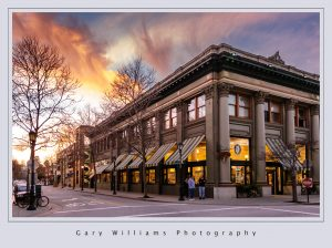 Photograph of a building at sunset in Santa Cruz, California
