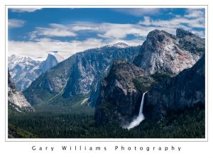 Photograph of Bridalveil Fall and Half Dome in Yosemite Valley, California