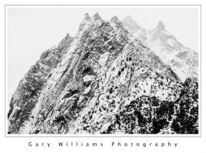 Photograph of a snow covered peak near Lone Pine, California