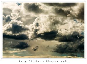 Photograph of dramatic clouds over Fremont Peak near Salinas, California