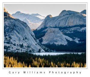 Photograph of Mountains and colorful trees at Tenaya Lake, Yosemite