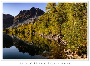 Photograph of  colorful trees reflected in a mountain lake along the June Lake Loop road in the eastern Sierra