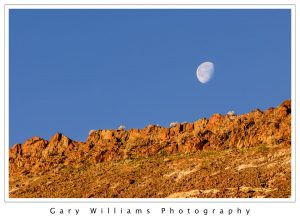Photograph of the moon behind rugged rocks at Red Rock State Park, California