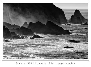 Photograph of rocks and waves near Humbug Mountain, Oregon.